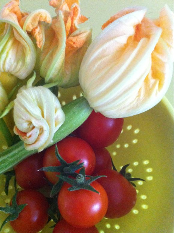 Home grown tomato and courgettes