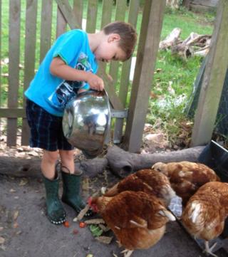 140228 Franger Farm feeding the chooks